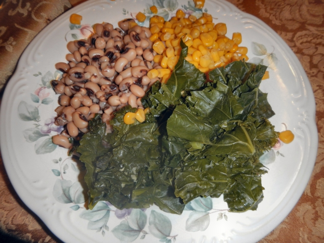 Black-eyed peas, corn, and kale
