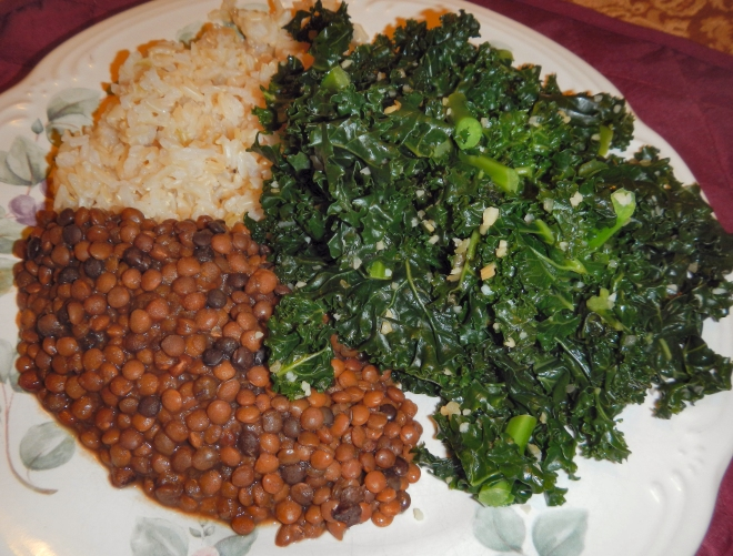 Photo of kale, lentils, and rice on a dinner plate