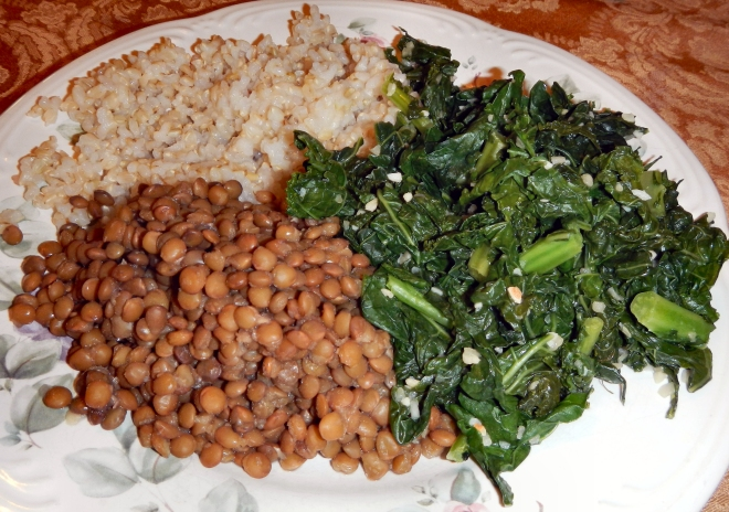 Kale, lentils, and brown rice
