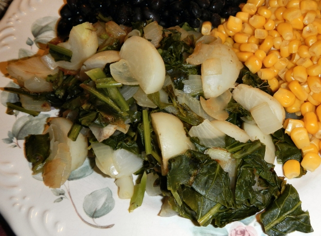 photo of braised baby turnip roots and greens